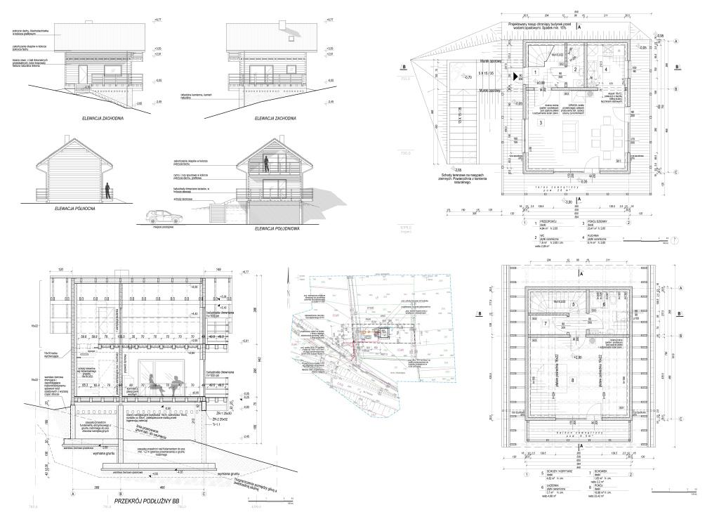 projekt budowlany domu drewnianego w górach